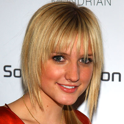 Ashlee Simpson's Straight Blonde Hair In Short Choppy Hairstyle