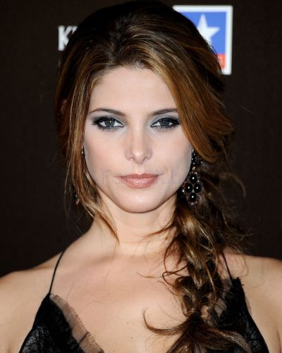 Ashley Greene's Long Brunette Hair In Loose Braided Formal Hairdo