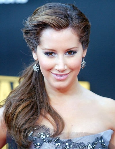 Ashley Tisdale Long Brown Wavy Ponytail For Formal Girly Updo