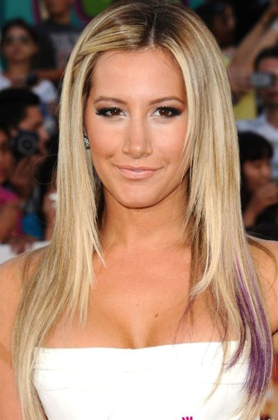Ashley Tisdale's Long Straight Blonde Hair With Purple Flash
