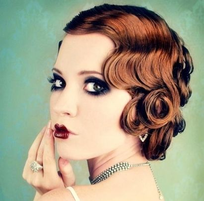 Auburn Hair In Vintage Pin Curls Bridal Formal Hairdo
