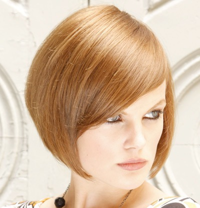 Auburn Straight Hair In Chic Angled Bob Hairstyle With Side Bangs