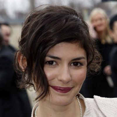 Audrey Tautou's Brunette Hair In Curly Simple Mature Updo