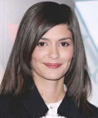 Audrey Tautou's Medium-Length Dark Brown Straight Hairstyle