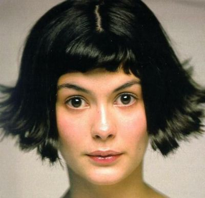 Audrey Tautou's Straight Hair In Flipped-Out Hairstyle With Bangs