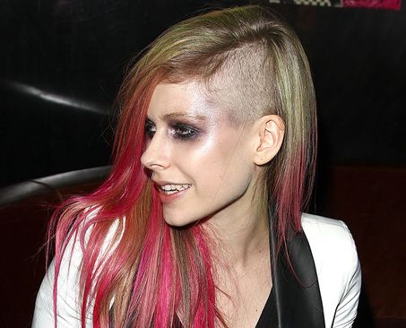 Avril Lavigne's Long Blonde Straight Hair In Undercut Hairstyle