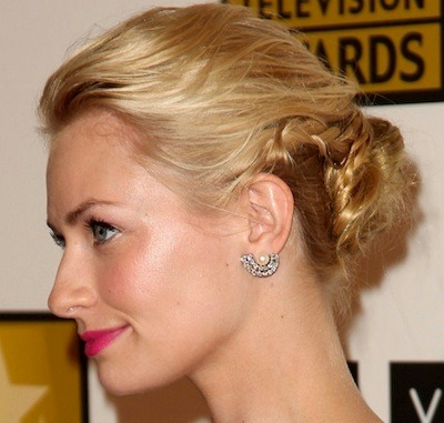 Beth Behrs Blonde Hair In Braided Chignon Formal Updo Hairdo
