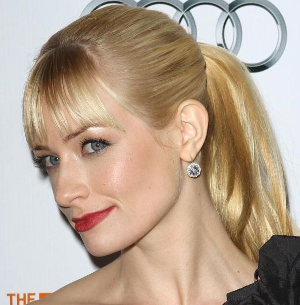 Beth Behrs's Straight Sleek Blonde Hair In Classic Ponytail