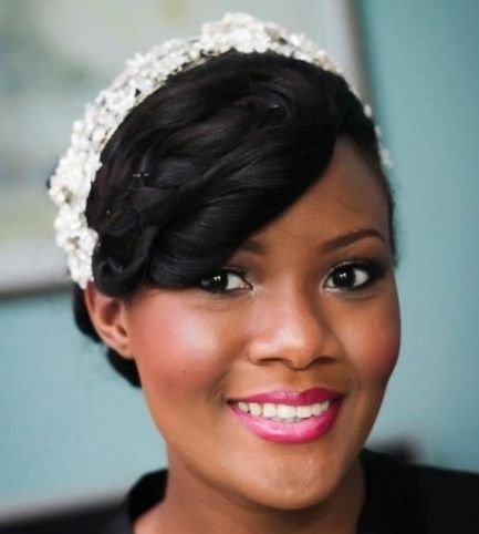 Black Hair With Pin Curled Bangs Formal Bridal hairdo