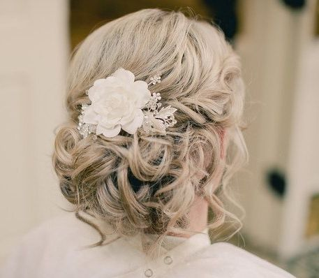 Blonde Curly Bridal Updo With Flower Wedding
