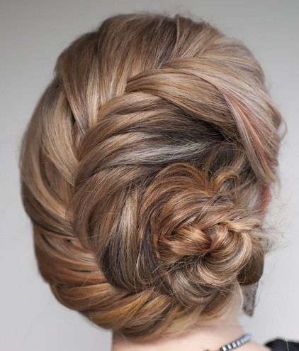 Blonde Hair In Pretty Formal French Fishtail Braid Chignon Updo
