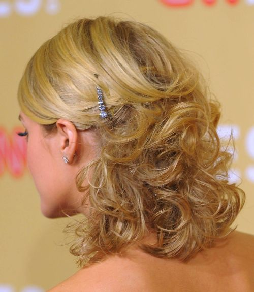Blonde Medium-Length Hair In Curly Formal Hairdo For Prom