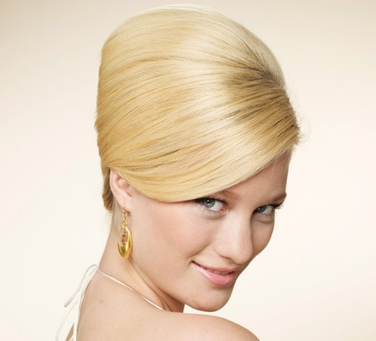 Elegant Blonde Sleek Straight Hair In Formal Bouffant Hairdo