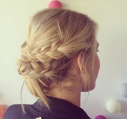 Blonde Braided Updo Prom Wedding Formal Careforhair