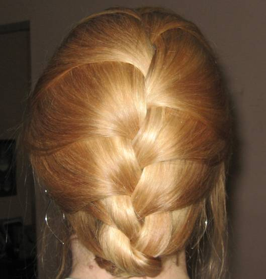 Blonde hair in tucked french braid casual evening summer blonde hair in tucked french braid ccuart Choice Image