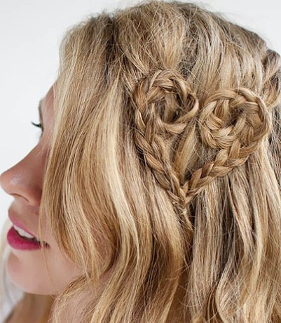 blonde hair with heartshaped braid party everyday