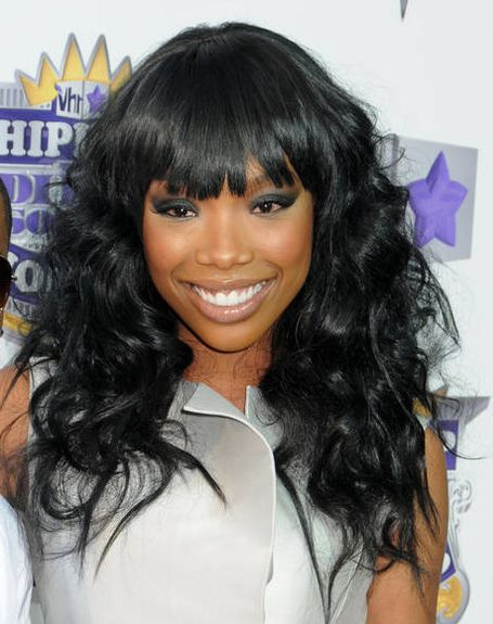 Brandy's Long Curly Black Hair With Blunt Bangs