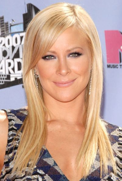 Brittany Daniel's Long Sleek Straight Blonde Hairstyle With Side Bangs
