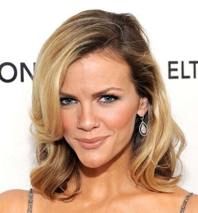 Brooklyn Decker's Medium-Length Blonde Curly Hairstyle With Side Bangs