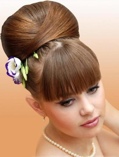 Brown Hair In Vintage Beehive Formal Updo Hairdo For Prom