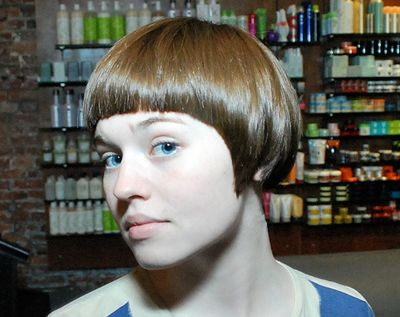 Brown Sleek Straight Hair In Short Cap Wedge Hairstyle