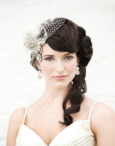 Side Half Updo With Veil