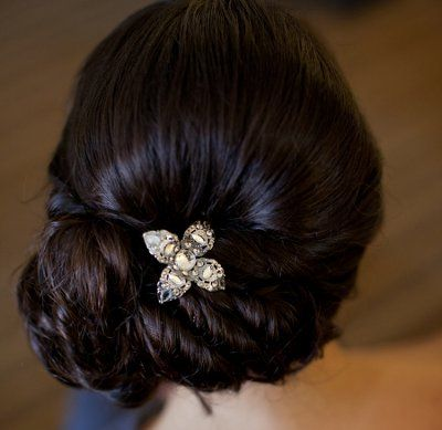 Brunette Hair In Elegant Twisted Chignon Updo For Weddings
