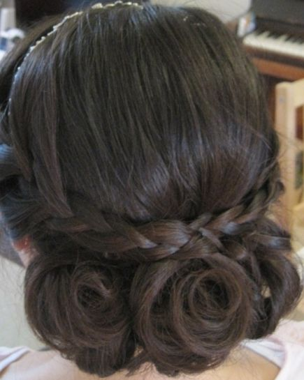 Brunette Hair In Triple Twist Updo With Braid For Brides