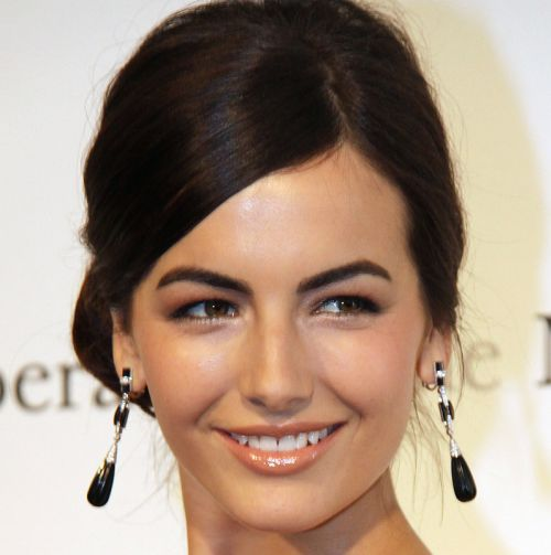 Camilla Belle's Dark Brown Hair In Elegant Sleek Formal Hairdo