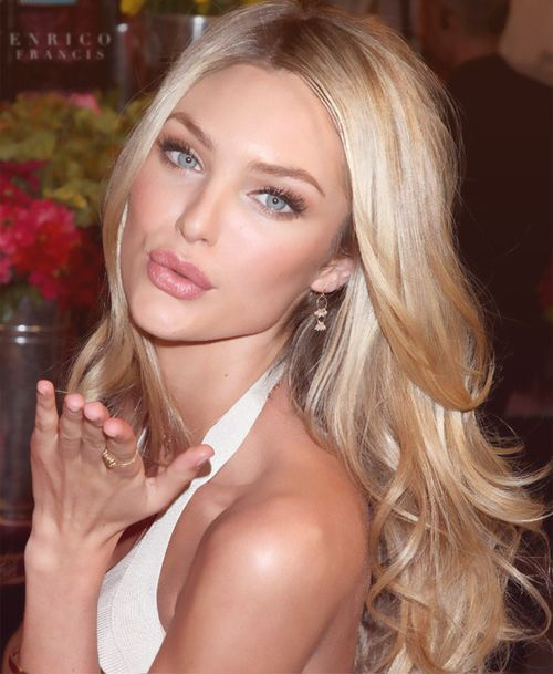 Candice Swanepoel's Long Blonde Layered Sexy Hairstyle With Middle Part