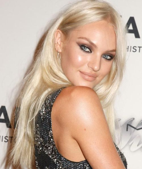 Candice Swanepoel's Long Straight Platinum Blonde Hair In Straight Hairstyle