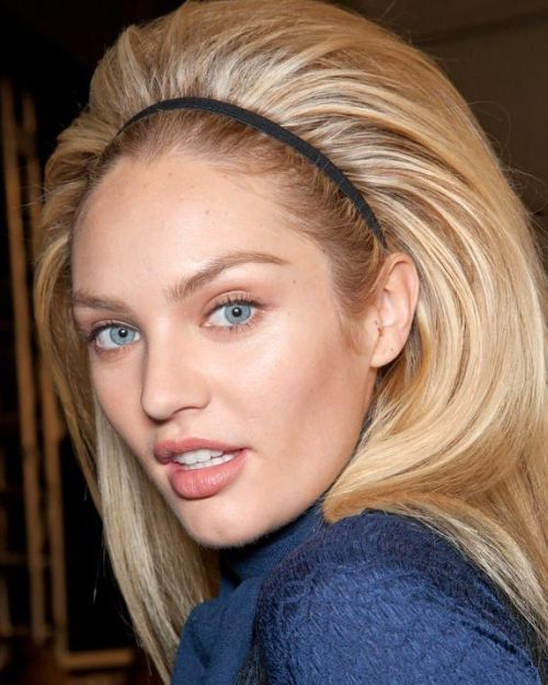 Candice Swanepoel's Straight Blonde Hair In Bouffant Hairdo With Headband