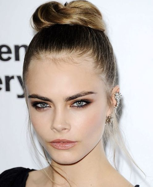 Cara Delevingne's Long Straight Blonde Hair In Ballerina Bun