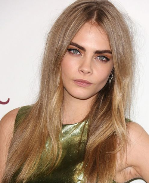 Cara Delevingne Long Straight Blonde Hair With Middle Part