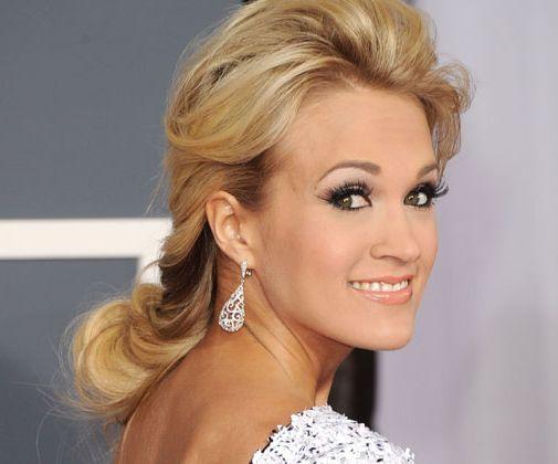 Carrie Underwood's Long Blonde Hair In Curly Formal Awards Hairdo