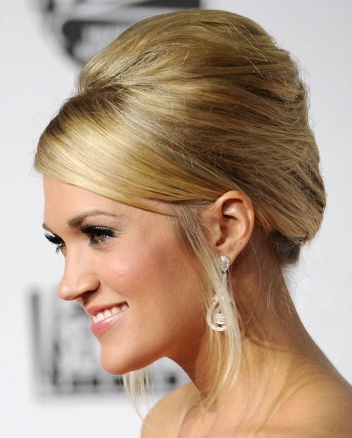 Carrie Underwood's Long Blonde Hair In French Twist Formal Hairdo