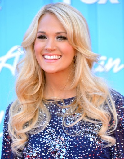 Carrie Underwood's Long Loose Curly Hairstyle With Bangs