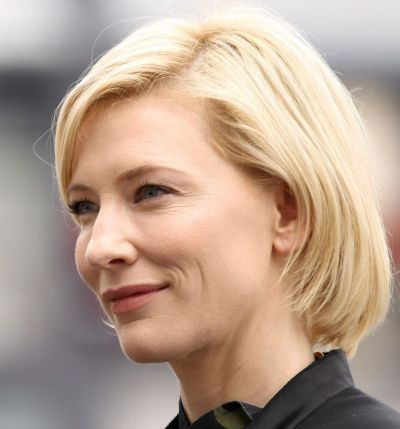 Cate Blanchett's Blonde Hair In Short Straight Mature Hairstyle