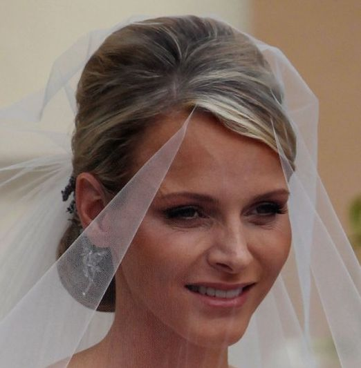 Charlene Wittstock's Straight Blonde Hair In Elegant Bridal Chignon