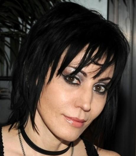 Chic Black Straight Medium-Length Mature Hairstyle With Choppy Bangs
