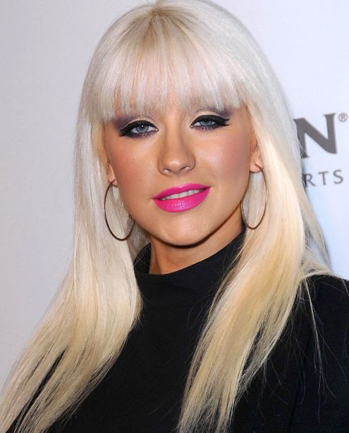 Christina Aguilera's Blonde Hair In Long Straight Hairstyle With Bangs