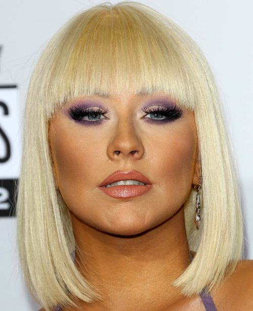 Christina Aguilera's Straight Blonde Hair In Bob With Blunt Bangs