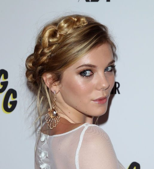 Claire Julien Pretty Blonde Braided Feminine Formal Updo Hairdo