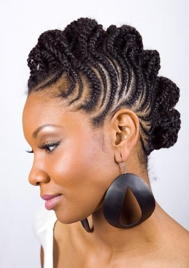 Glamorous and Classy Cornrow Braids Updo