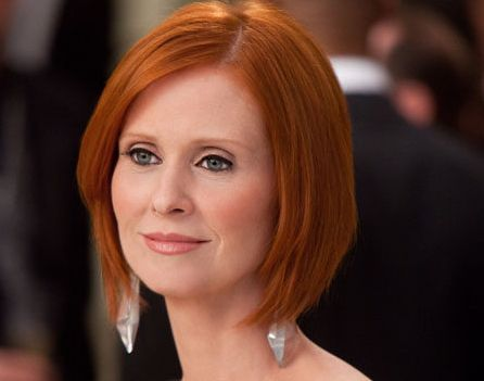 Cynthia Nixon's Straight Red Hair In Sleek Bob Hairstyle