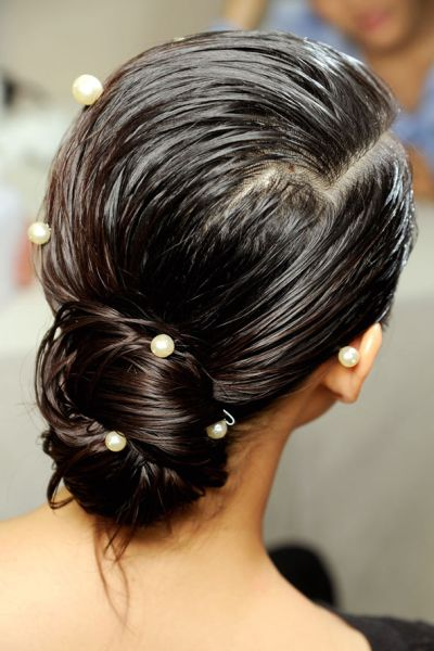 Wet Look Chignon With Pearls Wedding Fall Careforhair