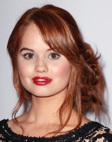 Debby Ryan Long Layered Red Hair With Top Layer In Side Bun