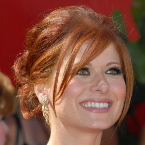 Debra Messing's Long Auburn Hair In Elegant Formal Updo