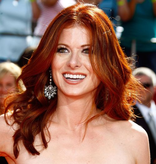 Debra Messing's Long Wavy Auburn Hair In Formal Hairstyle