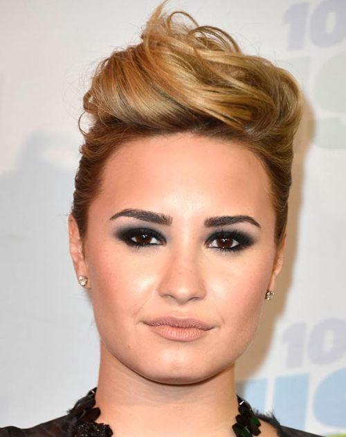 Demi Lovato's Long Blonde Hair In Formal Updo Hairdo